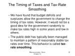 the timing of taxes and tax rate smoothing