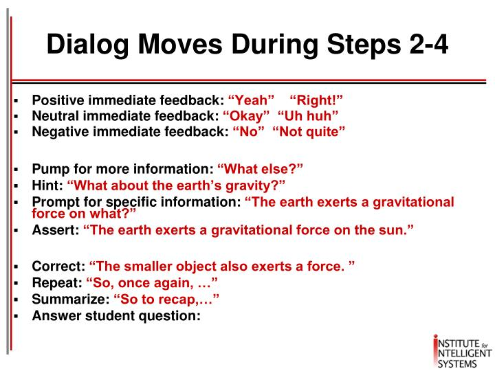 Dialog Moves During Steps 2-4