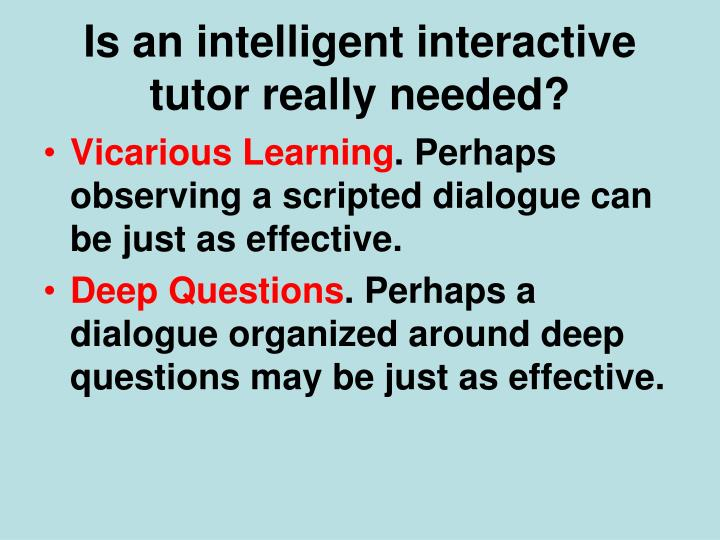 Is an intelligent interactive tutor really needed?