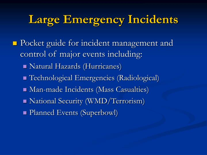 Large Emergency Incidents