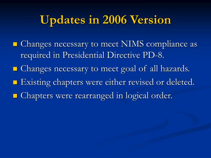 Updates in 2006 Version