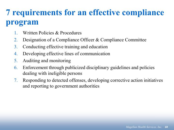7 requirements for an effective compliance program