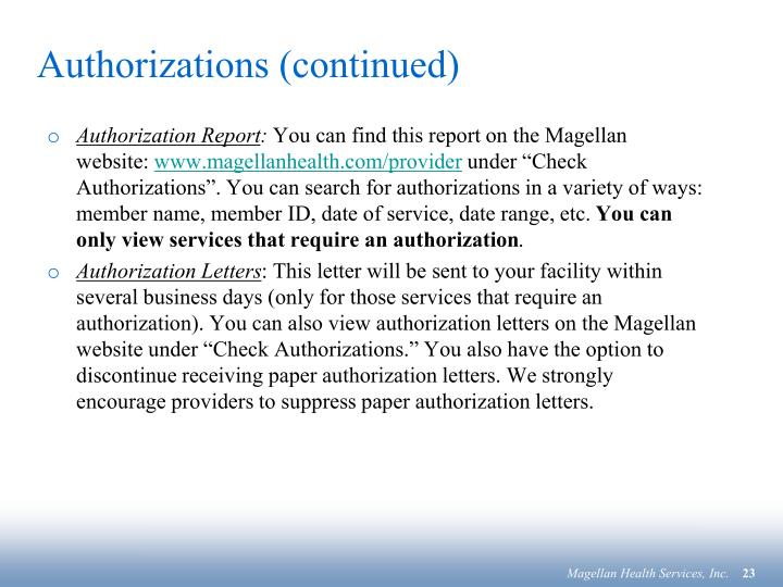Authorizations (continued)