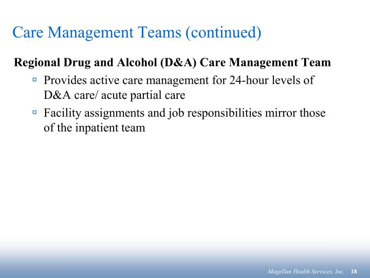 Care Management Teams (continued)