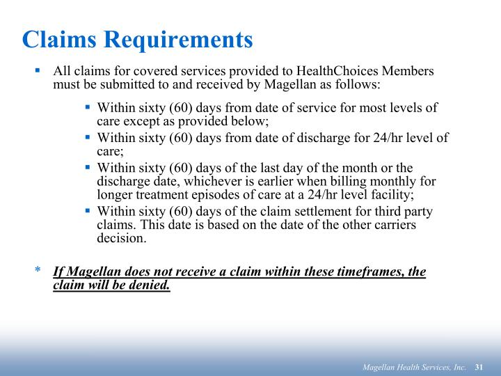 Claims Requirements