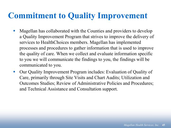 Commitment to Quality Improvement