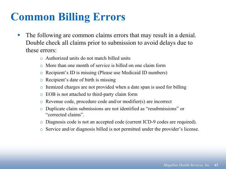 Common Billing Errors