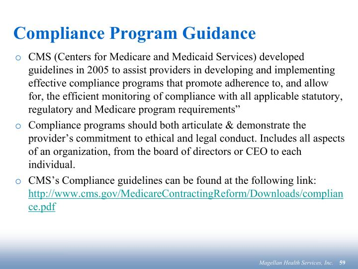 Compliance Program Guidance