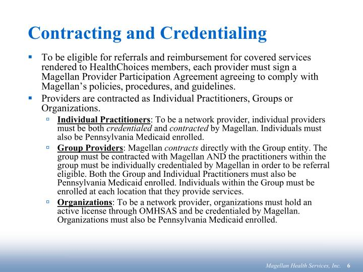 Contracting and Credentialing
