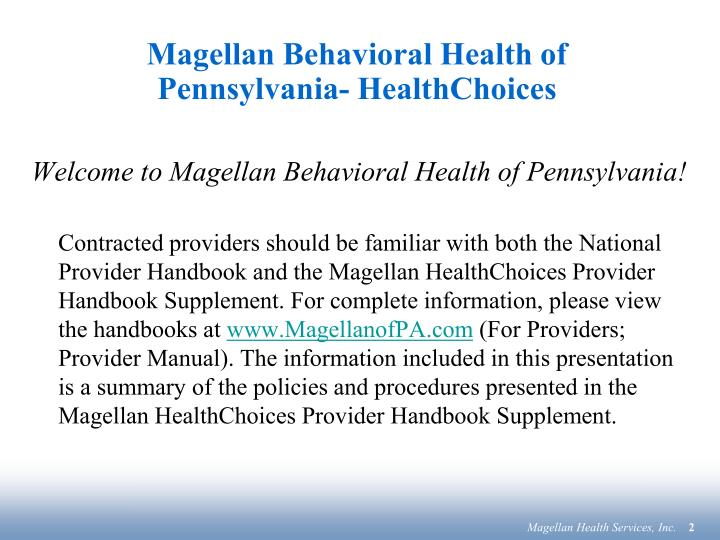 Magellan behavioral health of pennsylvania healthchoices