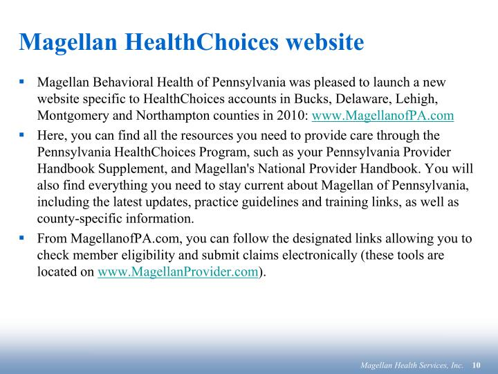 Magellan HealthChoices website
