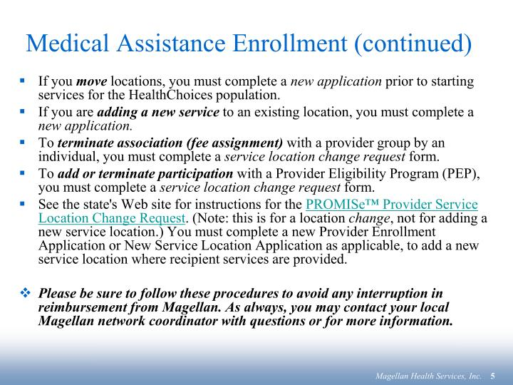 Medical Assistance Enrollment (continued)