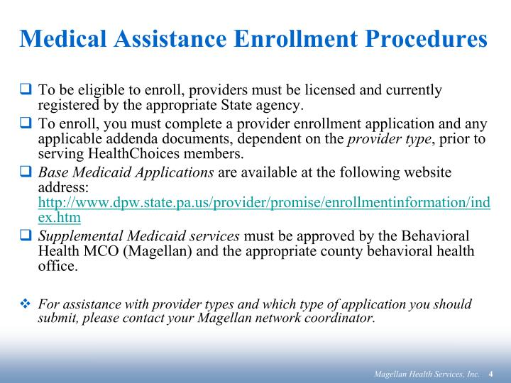 Medical Assistance Enrollment Procedures