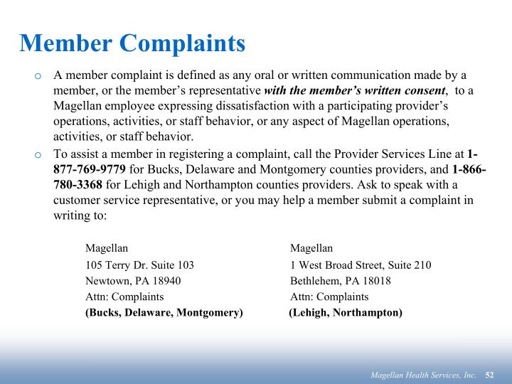 Member Complaints