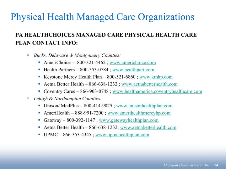 Physical Health Managed Care Organizations