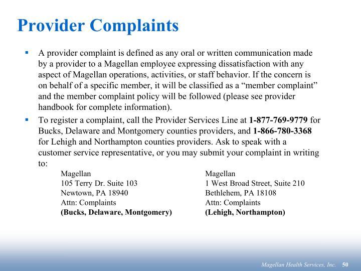 Provider Complaints