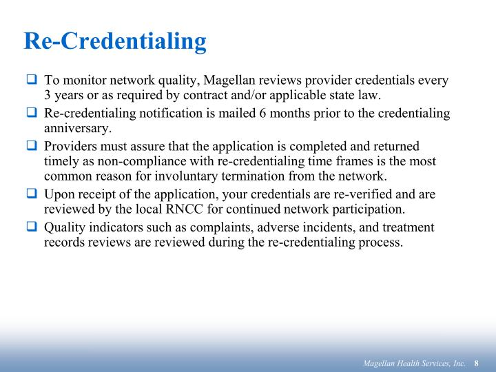 Re-Credentialing