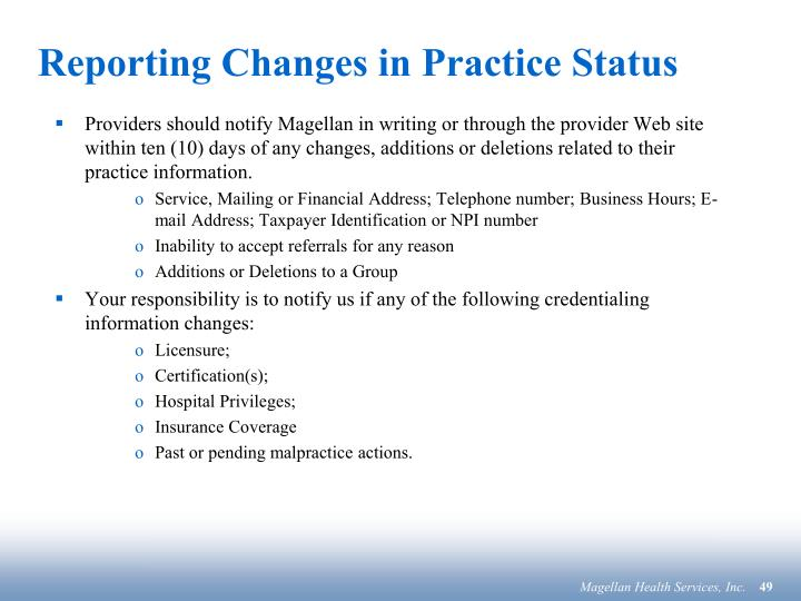 Reporting Changes in Practice Status