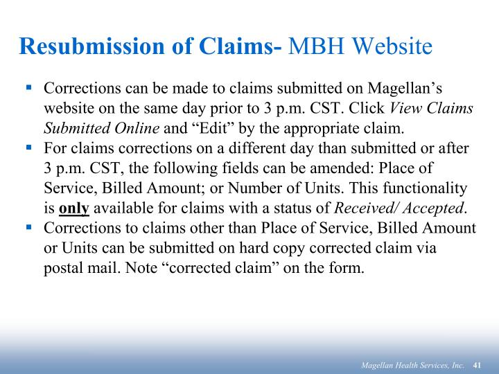 Resubmission of Claims-