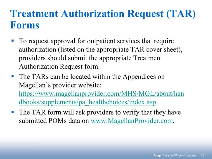 Treatment Authorization Request (TAR) Forms