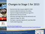 changes to stage 1 for 2013