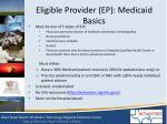 eligible provider ep medicaid basics