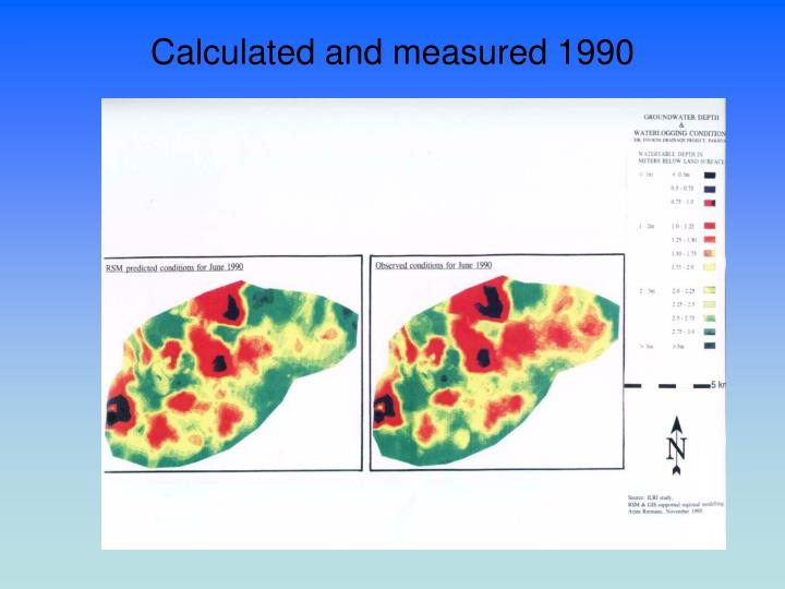 Calculated and measured 1990
