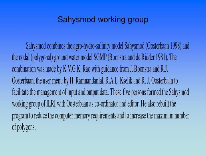 Sahysmod working group