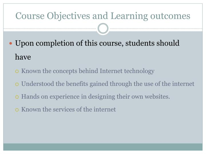 Course objectives and learning outcomes
