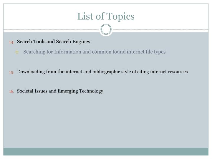 List of Topics