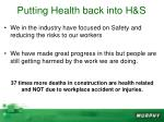 putting health back into h s