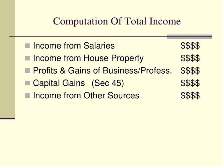 Computation of total income