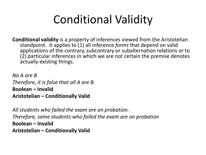 Conditional Validity