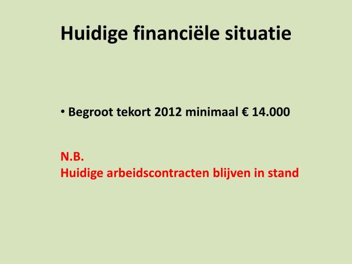 Huidige financiële situatie