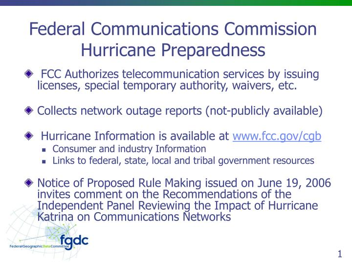 Federal communications commission hurricane preparedness