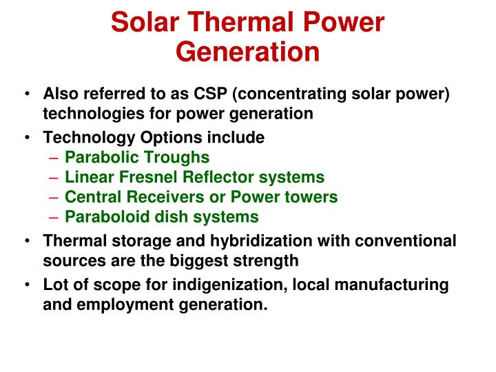 Solar Thermal Power Generation