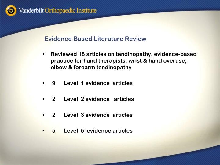 Evidence based literature review