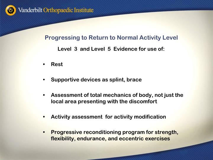 Progressing to Return to Normal Activity Level