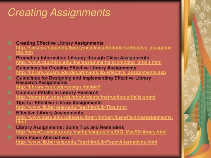 Creating Assignments
