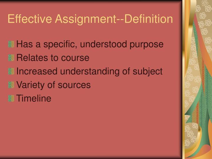 Effective assignment definition