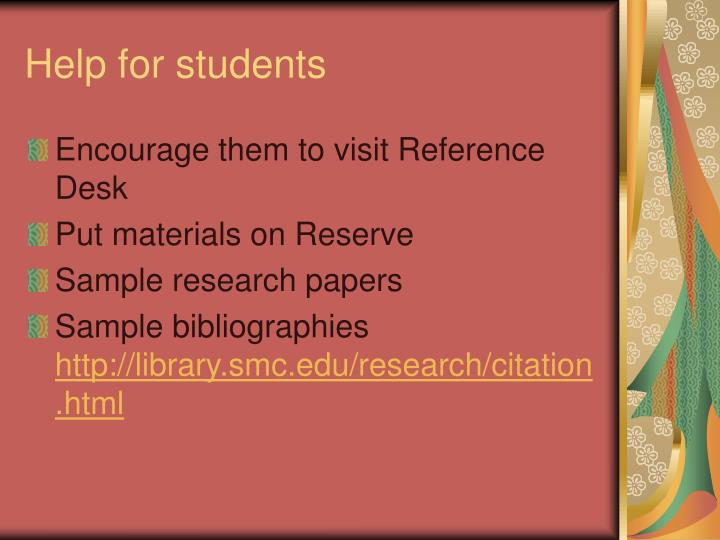 Help for students