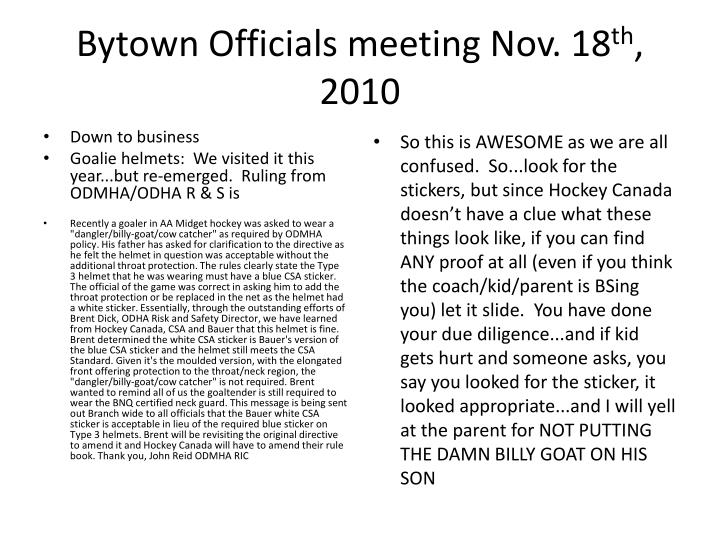 Bytown officials meeting nov 18 th 20102