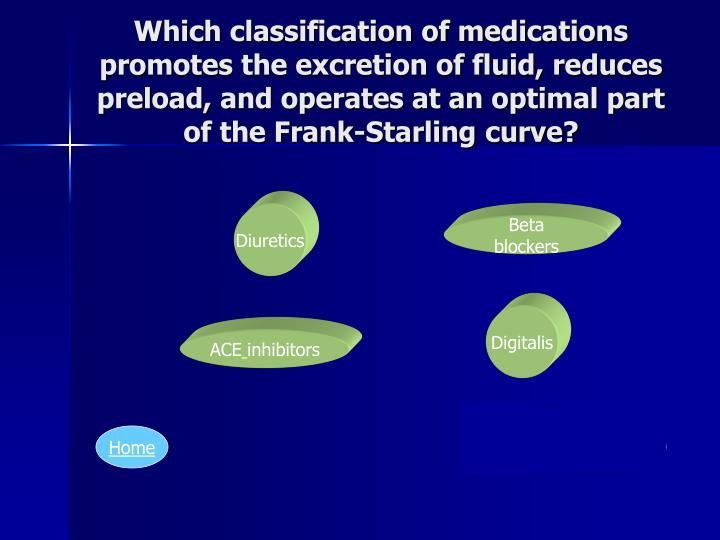 Which classification of medications promotes the excretion of fluid, reduces preload, and operates at an optimal part of the Frank-Starling curve?