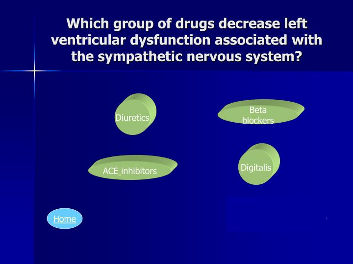 Which group of drugs decrease left ventricular dysfunction associated with the sympathetic nervous system?