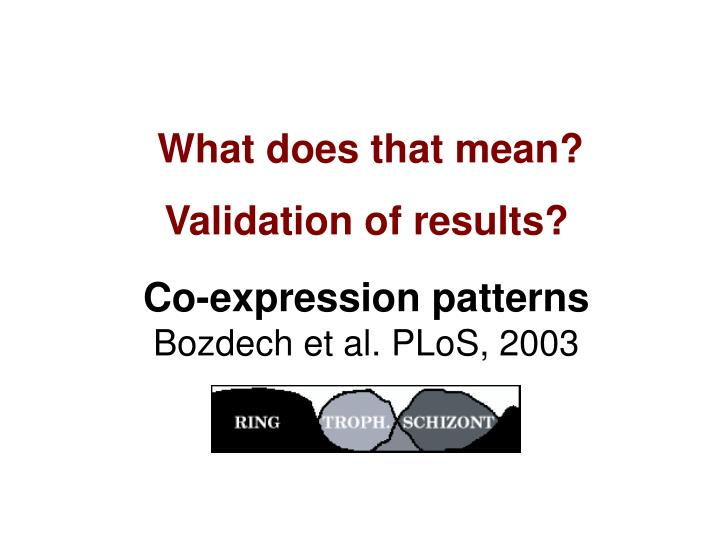 Co-expression patterns