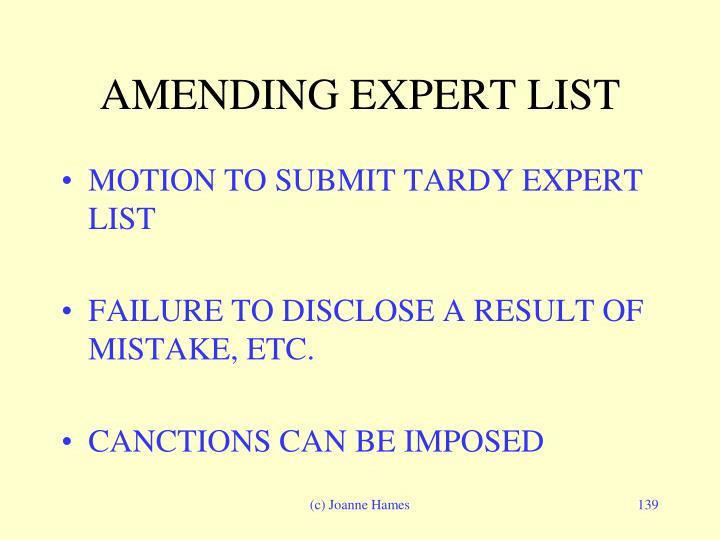 AMENDING EXPERT LIST