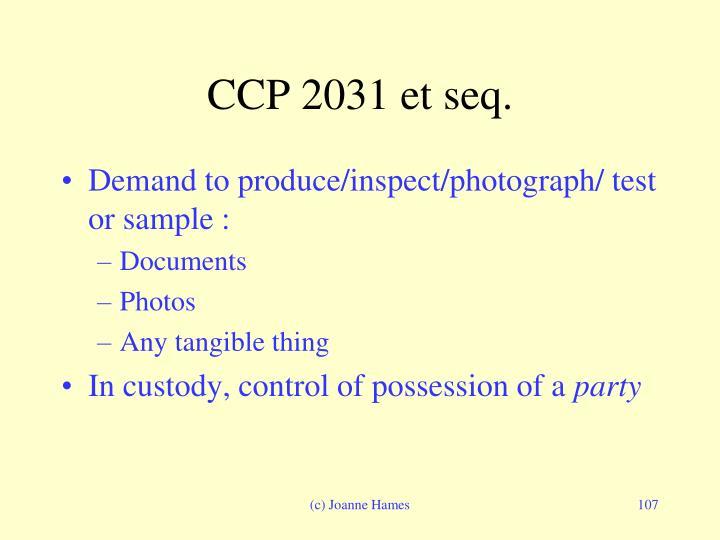 CCP 2031 et seq.