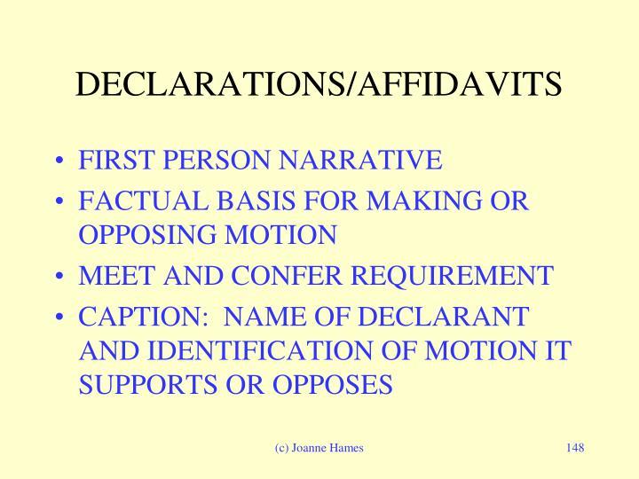 DECLARATIONS/AFFIDAVITS