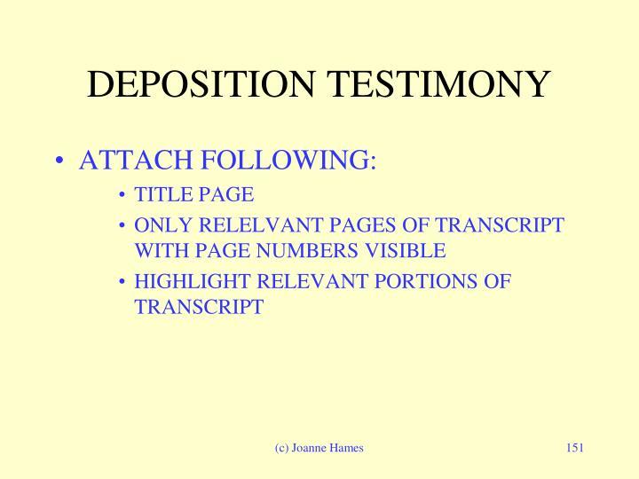 DEPOSITION TESTIMONY