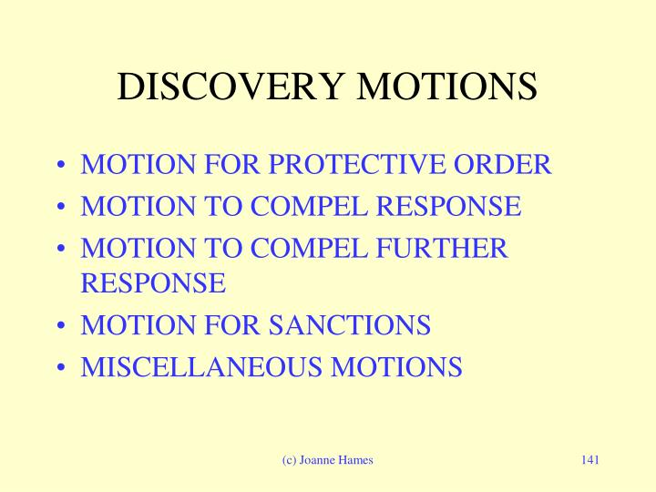 DISCOVERY MOTIONS